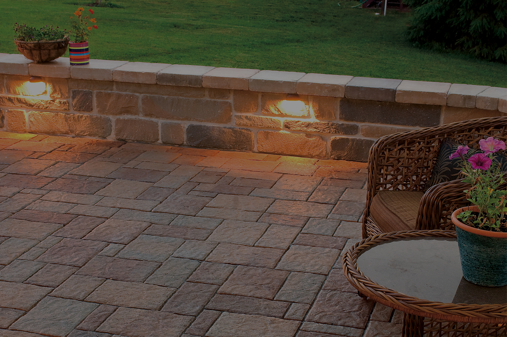 Patios, driveways &<br/> landscape products <br/><span style=color:#fd9e21>to inspire</span>